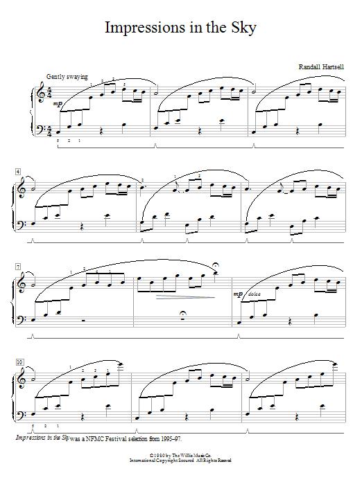 Partition piano Impressions In The Sky de Randall Hartsell - Piano Facile