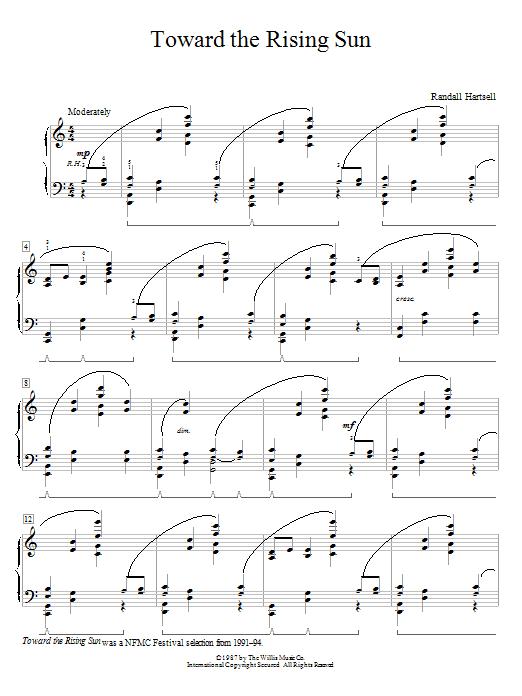 Partition piano Toward The Rising Sun de Randall Hartsell - Piano Facile