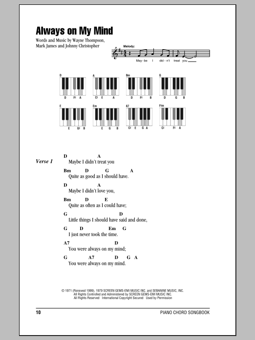 Always On My Mind sheet music for piano solo (chords, lyrics, melody) by Wayne Thompson