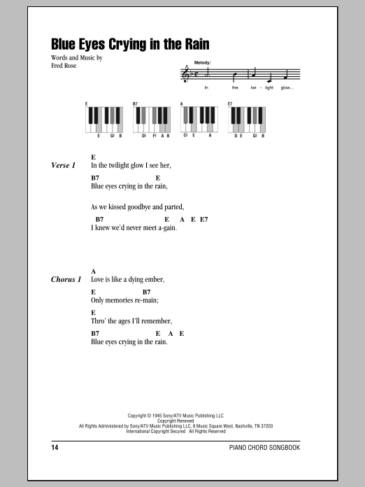Blue Eyes Crying In The Rain sheet music for piano solo (chords, lyrics, melody) by Fred Rose