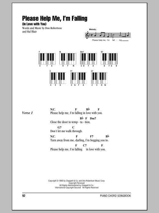 Please Help Me, I'm Falling (In Love With You) sheet music for piano solo (chords, lyrics, melody) by Hal Blair