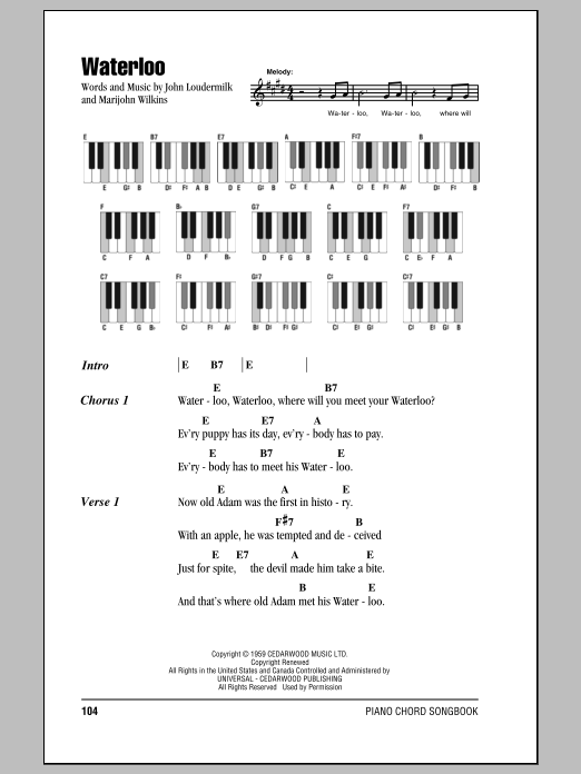 Waterloo sheet music for piano solo (chords, lyrics, melody) by Marijohn Wilkin