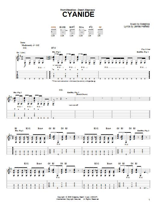 Tablature guitare Cyanide de Metallica - Tablature guitare facile