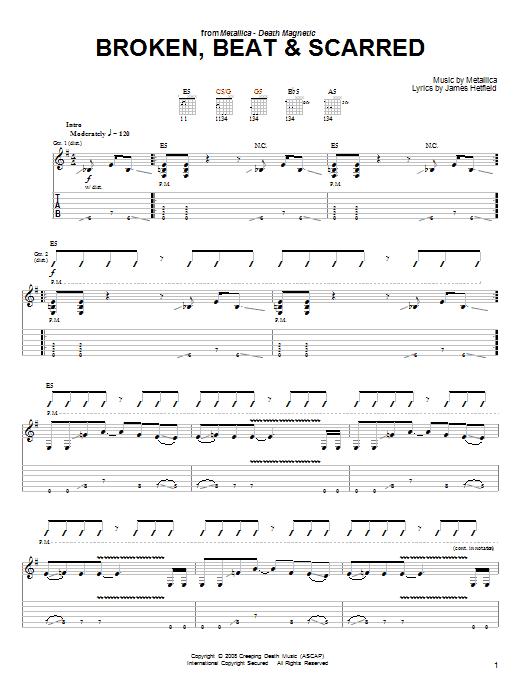 Tablature guitare Broken, Beat & Scarred de Metallica - Tablature guitare facile
