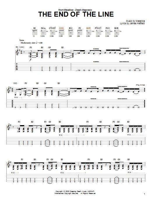 Tablature guitare The End Of The Line de Metallica - Tablature guitare facile