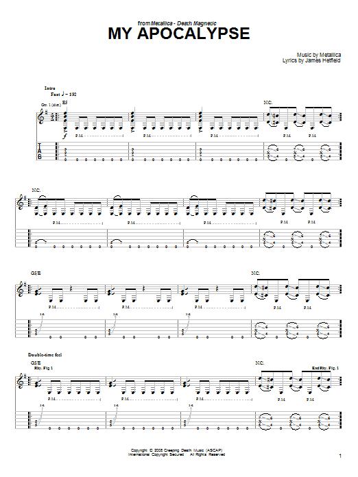 Tablature guitare My Apocalypse de Metallica - Tablature guitare facile