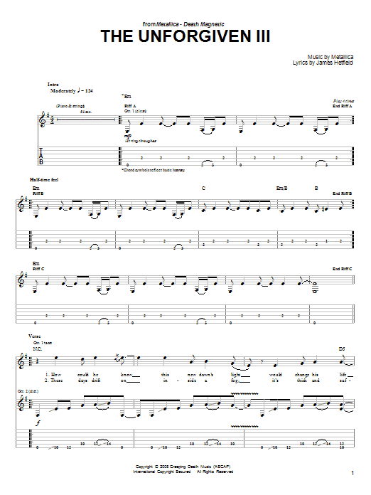 Tablature guitare The Unforgiven III de Metallica - Tablature guitare facile