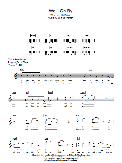 Walk On By sheet music for piano solo (chords, lyrics, melody) by Hal David