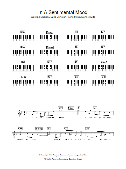 In A Sentimental Mood sheet music for piano solo (chords, lyrics, melody) by Manny Kurtz