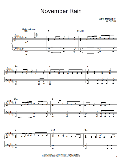 November Rain | Sheet Music Direct