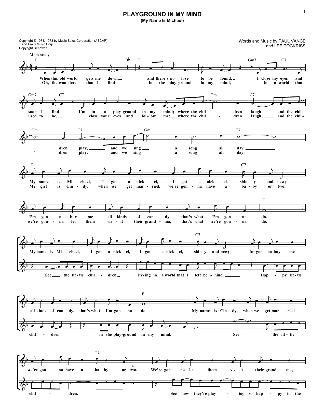 Playground In My Mind (My Name Is Michael) sheet music for voice and other instruments (fake book) by Paul Vance