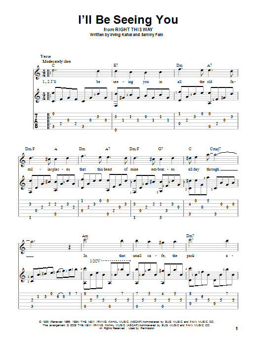 Tablature guitare I'll Be Seeing You de Sammy Fain - Tablature Guitare