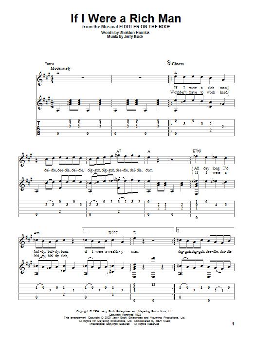 Tablature guitare If I Were A Rich Man de Bock & Harnick - Tablature Guitare