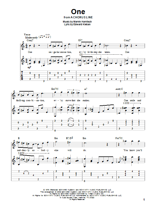 Tablature guitare One de Marvin Hamlisch - Tablature Guitare