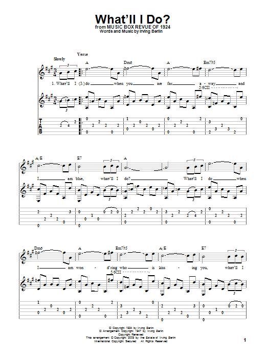 Tablature guitare What'll I Do? de Irving Berlin - Tablature Guitare