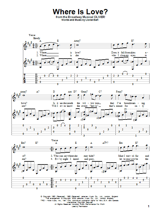 Tablature guitare Where Is Love? de Lionel Bart - Tablature Guitare