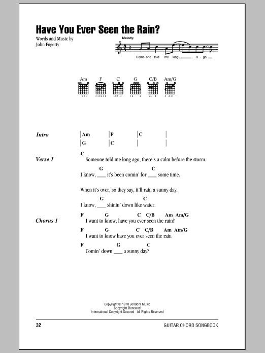 Sheet Music Digital Files To Print Licensed Creedence Clearwater