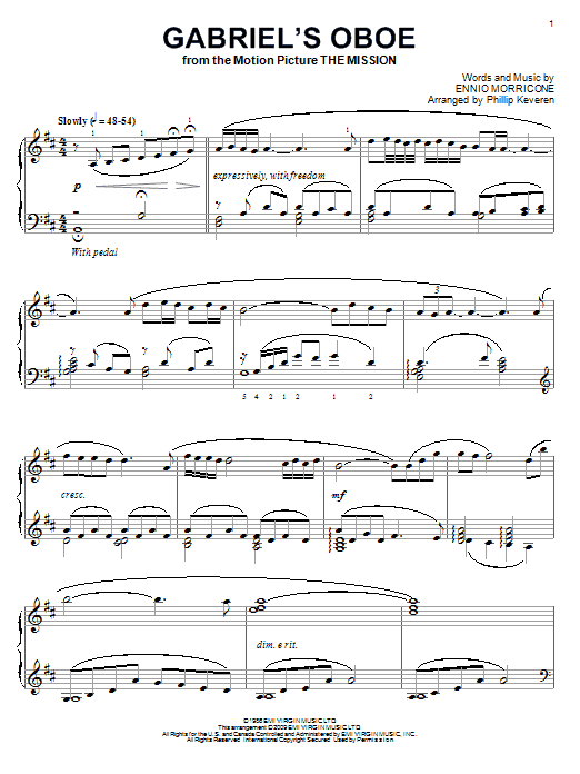 Ennio Morricone Gabriels Oboe Sheet Music | Share The Knownledge