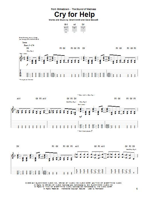 Tablature guitare Cry For Help de Shinedown - Tablature Guitare