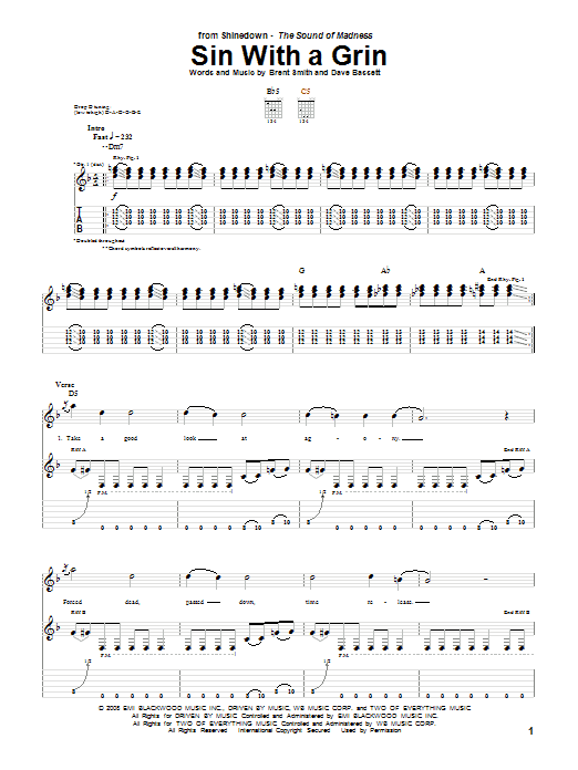 Tablature guitare Sin With A Grin de Shinedown - Tablature Guitare