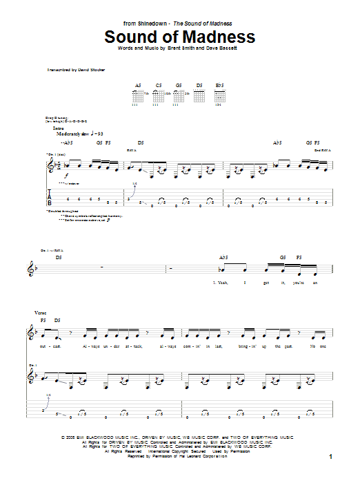 Shinedown: Sound Of Madness - Guitar Tab