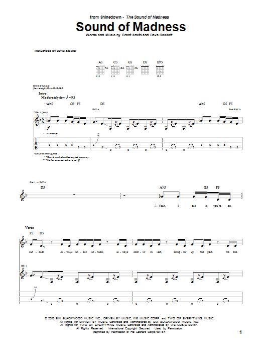 Tablature guitare Sound Of Madness de Shinedown - Tablature Guitare