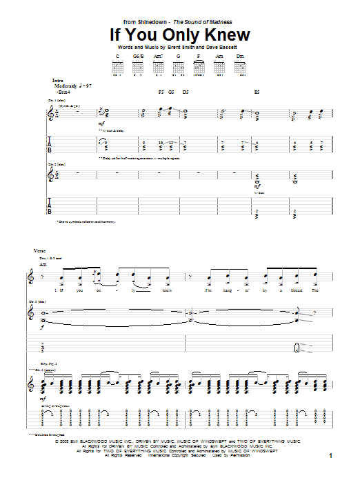 Tablature guitare If You Only Knew de Shinedown - Tablature Guitare