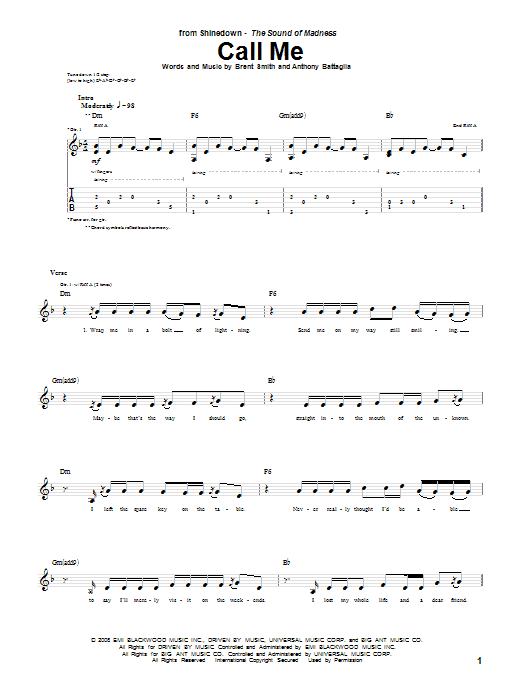 Tablature guitare Call Me de Shinedown - Tablature Guitare