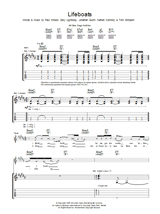 Lifeboats sheet music for guitar solo (tablature) by Gary Lightbody