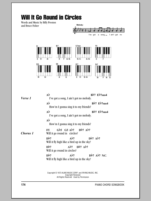Will It Go Round In Circles sheet music for piano solo (chords, lyrics, melody) by Bruce Fisher