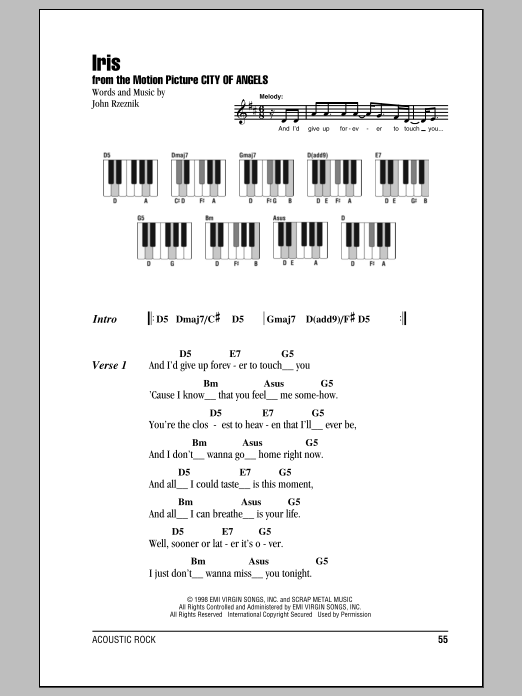 Iris sheet music by Goo Goo Dolls (Lyrics u0026 Piano Chords u2013 87366)
