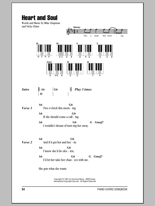 Heart And Soul sheet music by Huey Lewis u0026 The News (Lyrics u0026 Piano Chords u2013 87348)