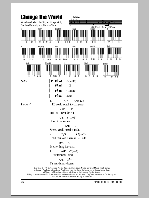 Change The World sheet music for piano solo (chords, lyrics, melody) by Wayne Kirkpatrick