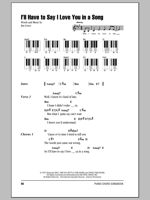 Ill Have To Say I Love You In A Song By Jim Croce Hal Leonard