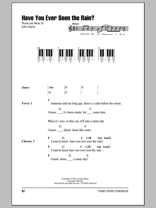 Sheet Music Digital Files To Print - Licensed Creedence Clearwater ...
