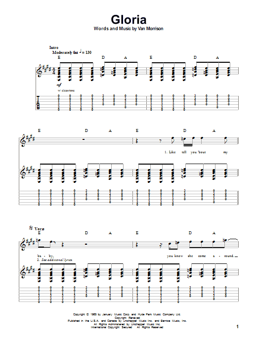 Gloria sheet music for guitar solo (tablature, play-along) by Them