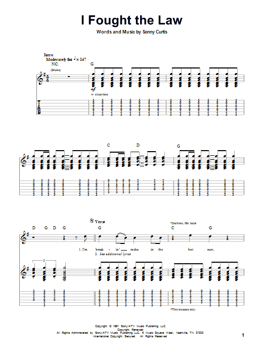I Fought The Law sheet music for guitar solo (tablature, play-along) by Sonny Curtis