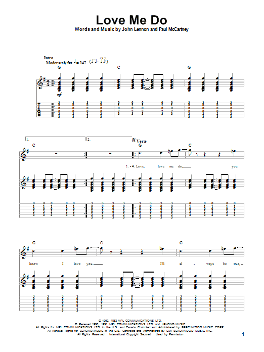 Love Me Do sheet music for guitar solo (tablature, play-along) by Paul McCartney