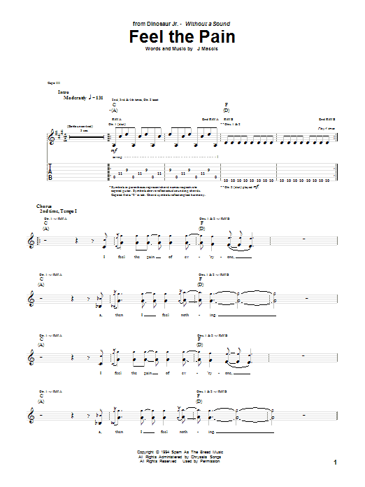 Tablature guitare Feel The Pain de Dinosaur Jr. - Tablature Guitare