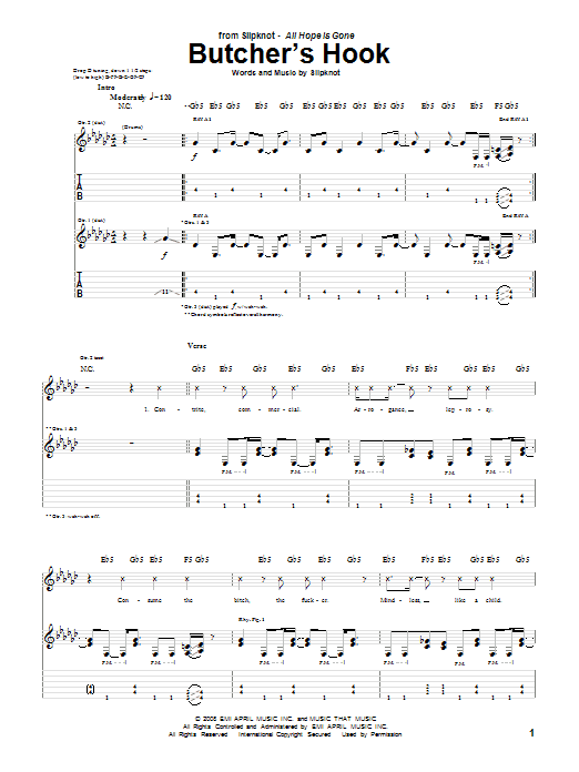Butcher's Hook sheet music for guitar solo (tablature) by Slipknot