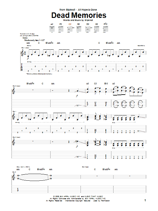 Dead Memories sheet music for guitar solo (tablature) by Slipknot