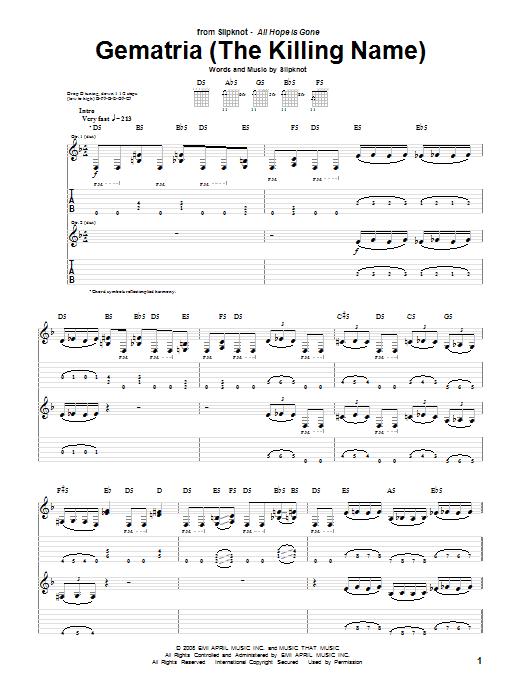 Tablature guitare Gematria (The Killing Name) de Slipknot - Tablature Guitare