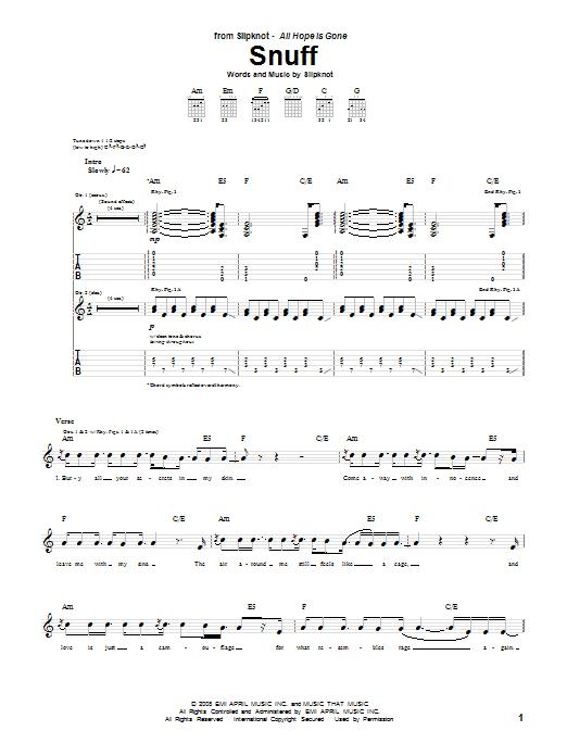 Tablature guitare Snuff de Slipknot - Tablature Guitare