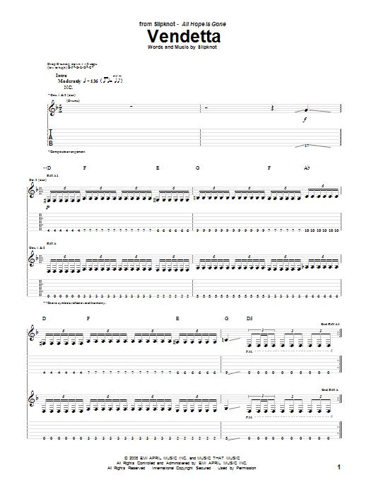 Tablature guitare Vendetta de Slipknot - Tablature Guitare