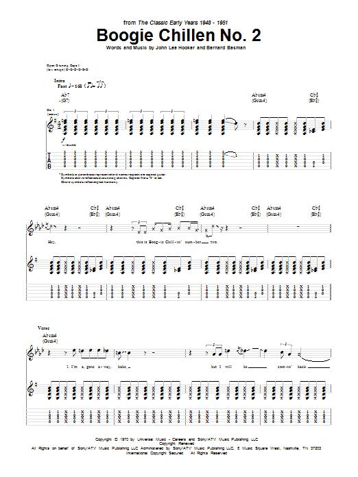 Tablature guitare Boogie Chillen No. 2 de John Lee Hooker - Tablature Guitare