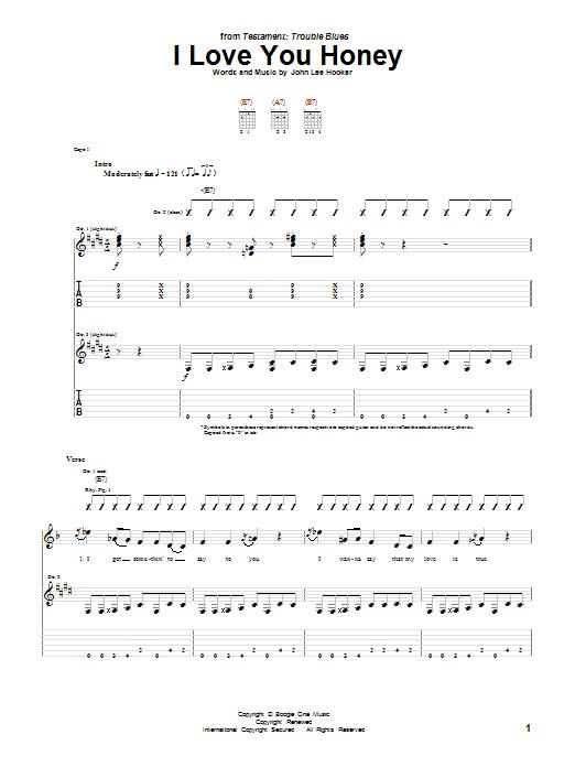 Tablature guitare I Love You Honey de John Lee Hooker - Tablature Guitare