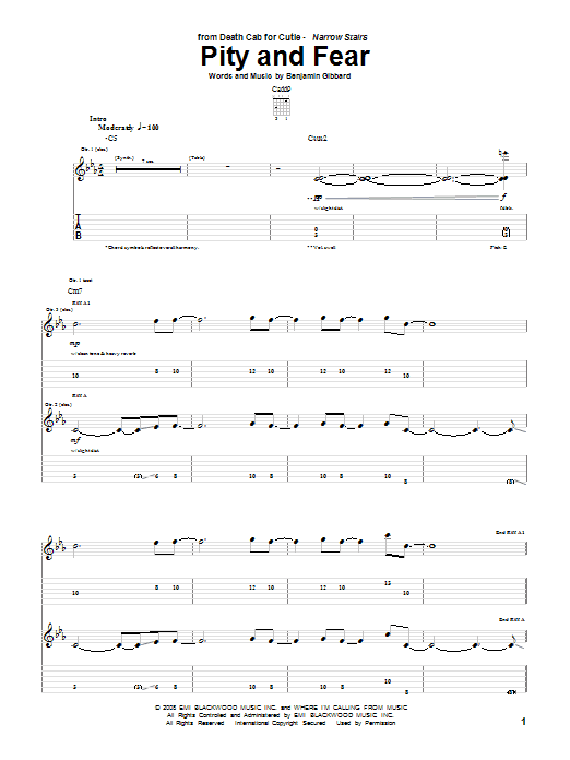 Tablature guitare Pity And Fear de Death Cab For Cutie - Tablature Guitare