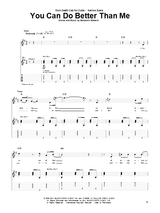 Tablature guitare You Can Do Better Than Me de Death Cab For Cutie - Tablature Guitare