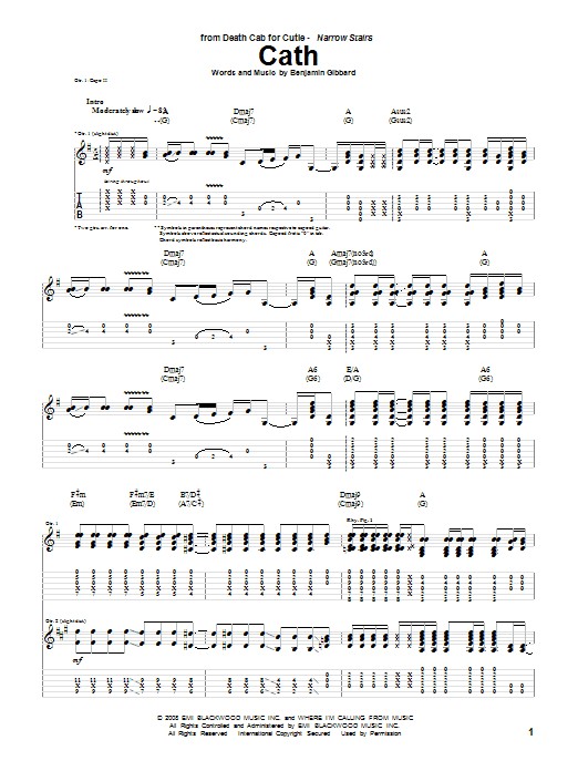 Sheet Music Digital Files To Print - Licensed Death Cab For Cutie ...