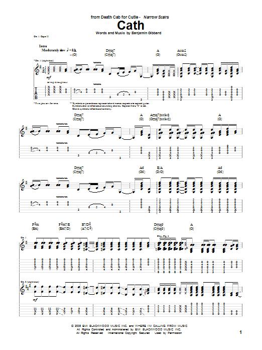 Tablature guitare Cath de Death Cab For Cutie - Tablature Guitare